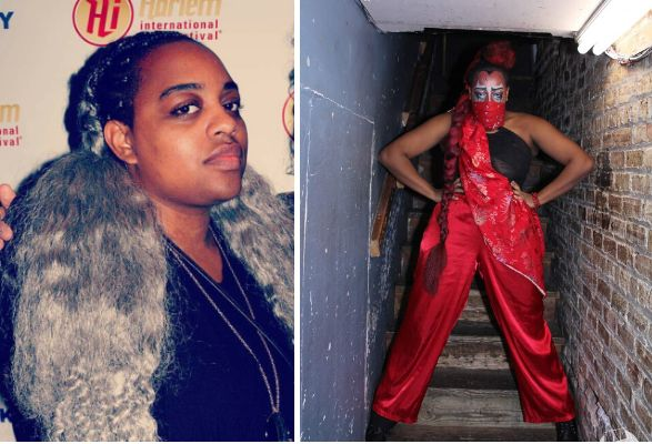 Cassandra Kendall out of drag (left), Lúc Ami in drag (right).