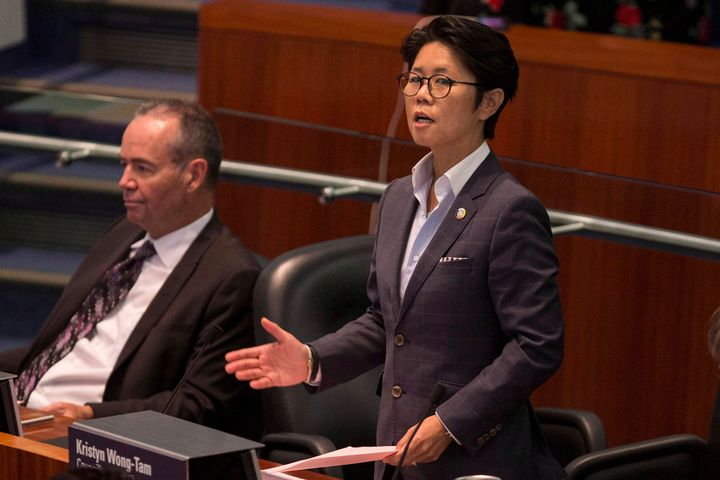 Toronto city councillor Kristyn Wong-Tam introduces a motion in council chambers on Sept. 13, 2018.
