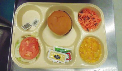 A hamburger with toppings on the side is just one meal prisoners can be fed; the cost per diem of these meals average less than $5.
