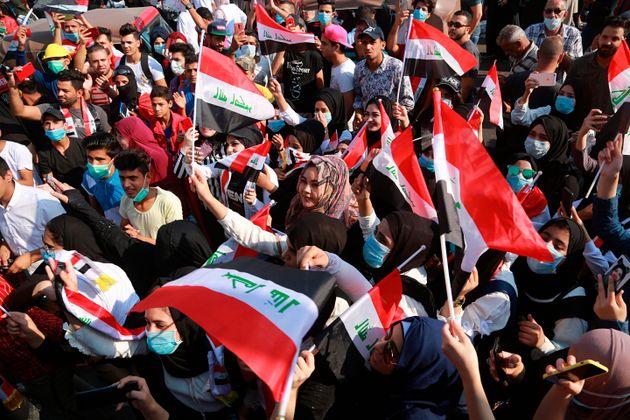 Un grupo de manifestantes, hoy, en el centro de