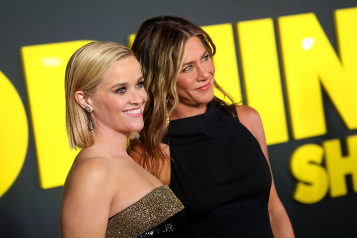 "Reese Witherspoon and Jennifer Aniston attend Apple's global premiere of ""The Morning Show"" on October 28, 2019 in New York City."