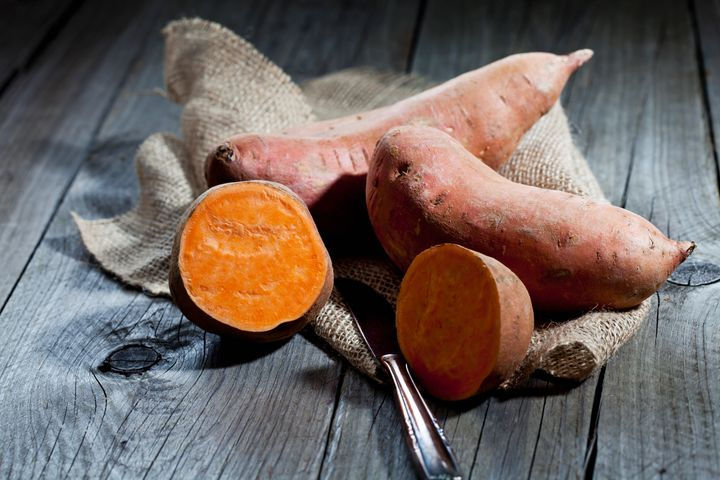 Sweet potatoes can be purple, orange, yellow and brown on the outside, and white, yellow, orange and red on the inside. Sweet potatoes can also be white, but they are not related to regular white potatoes.