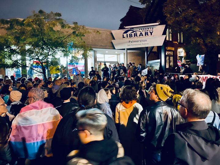 Scene from the protest of Meghan Murphy at the Palmerston branch of Toronto Public Library.