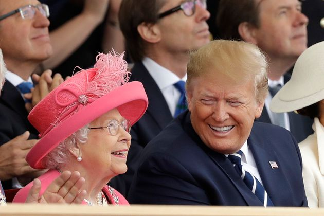 Donald Trump and the Queen at an event to mark the 75th anniversary of