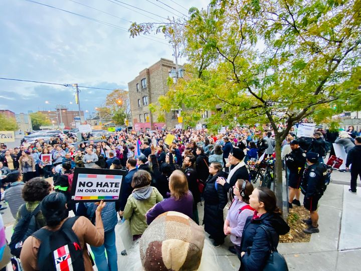 Scenes from the protest of Meghan Murphy at the Palmerston branch of Toronto Public Library.