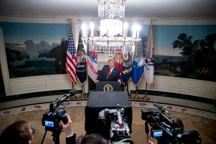President Donald Trump speaks in the Diplomatic Room of the White House in Washington, Sunday, Oct. 27, 2019, to announce tha