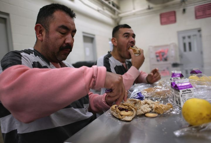 """During Joe Arapaio's time as sheriff of Maricopa County Jail in Phoenix, AZ., peanut butter sandwiches made up one of two meals inmates of """"Tent City"""" were served."""