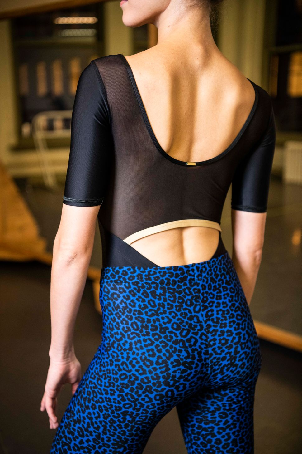 "Teuscher in her a&nbsp;<a href=""https://jaideedancewear.com/"" target=""_blank"" rel=""noopener noreferrer"">Jai-Dee</a> leotard and leggings by&nbsp;Radetsky."