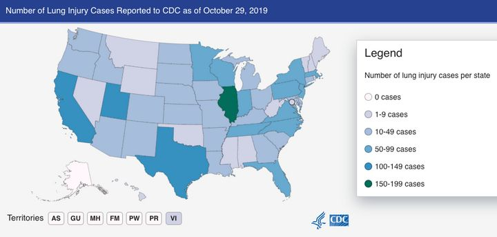 The state with the highest number of lung injuries is Illinois, which has reported 150-199 cases, according to the CDC.