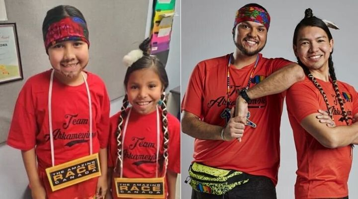 "Tenecia Cardinal, 12, and Willow Cardinal, 9, dressed as Anthony Johnson and James Makokis (right), the winners of this year's ""The Amazing Race Canada."""