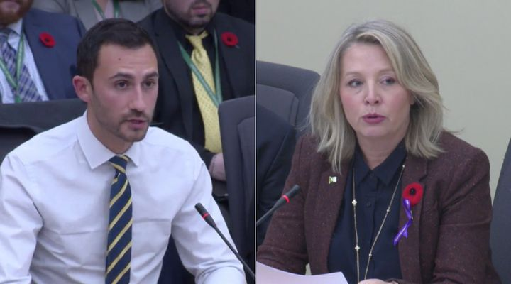 Ontario Minister Stephen Lecce and NDP MPP Marit Stiles speak at a committee at Queen's Park on Oct. 30, 2019.