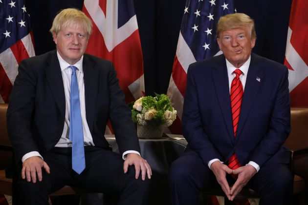 U.S. President Donald Trump holds a bilateral meeting with British Prime Minister Boris Johnson on the...