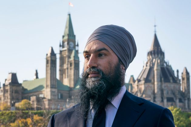 NDP Leader Jagmeet Singh is pictured with Parliament Hill in the background in Ottawa on Oct. 10,