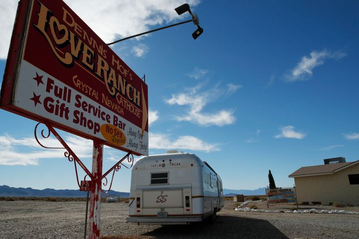 In this Oct. 16, 2018, file photo, a sign advertises the Love Ranch brothel in Pahrump, Nev. A federal judge in Nevada has di