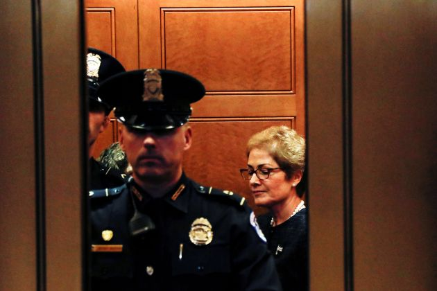 Former U.S. ambassador to Ukraine Marie Yovanovitch leaves after testifying in the U.S. House of Representatives...