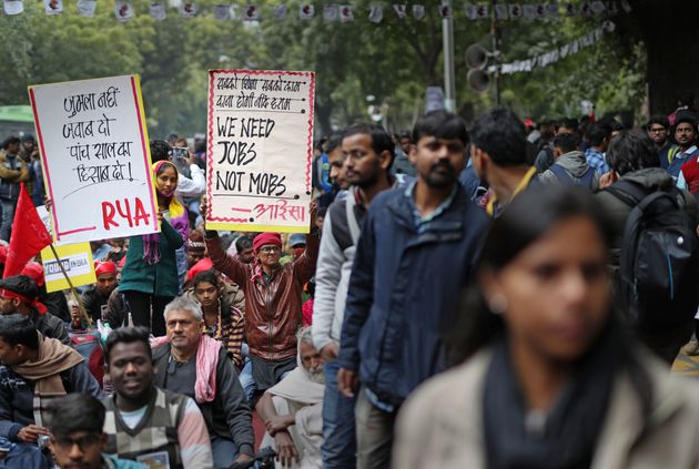 Indian students from various student organizations participate in a protest rally in New Delhi, India,...