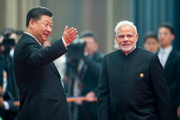 Chinese President Xi Jinping with Prime Minister Narendra Modi at the Shanghai Cooperation Organization...