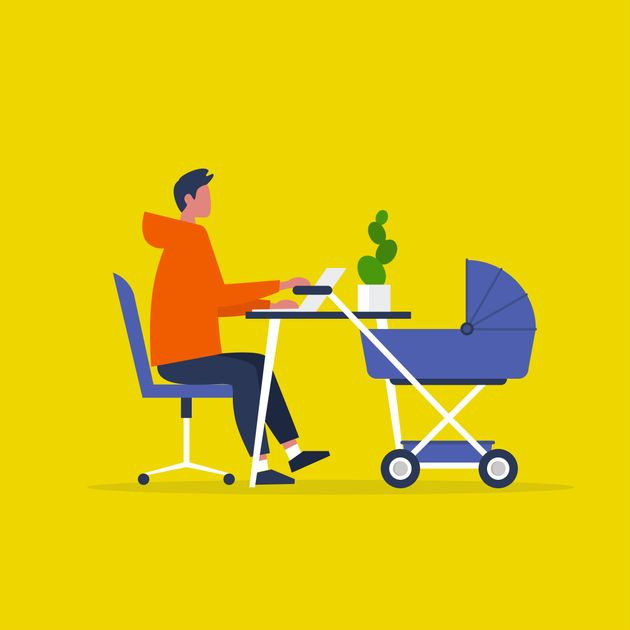 Baby carriage. Pram. Young male character combining work and baby care. Modern parenthood. Flat editable...