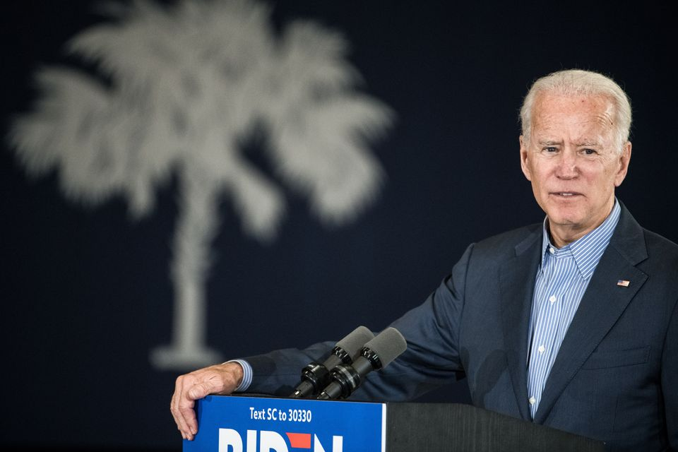 Joe Biden (ici le 26 octobre en Caroline du Sud), l'un des candidats démocrates à...