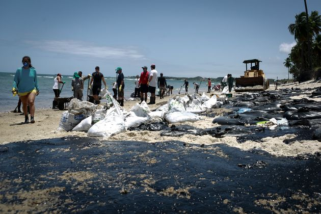 Des volontaires enlevant le pétrole déversé sur la plage de Paiva, dans l'État...