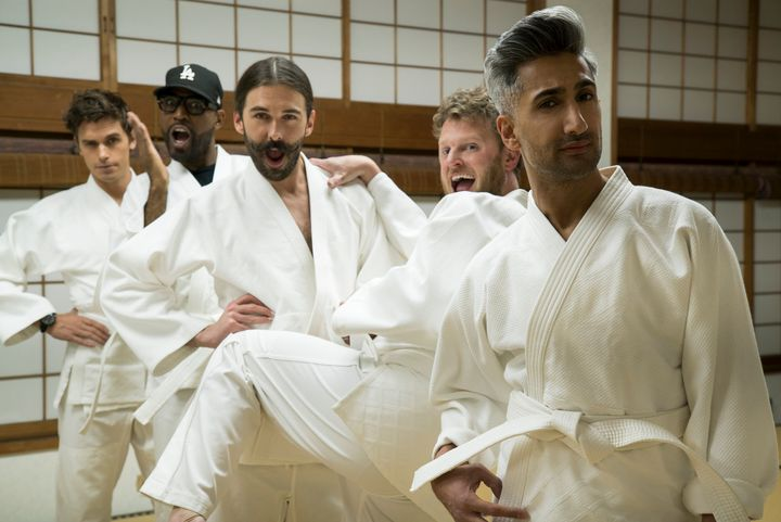 "Antoni Porowski, Karamo Brown, Jonathan Van Ness, Bobby Berk and Tan France in ""Queer Eye: We're In Japan!"""