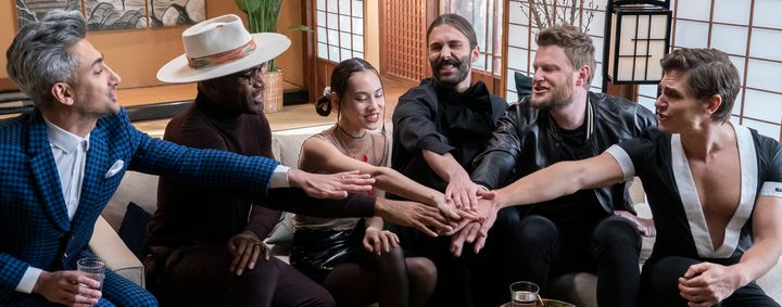 "Tan France, Karamo Brown, Kiko Mizuhara, Jonathan Van Ness, Bobby Berk and Antoni Porowski in ""Queer Eye: We're In Japan!"""