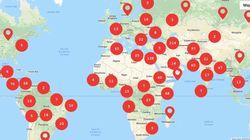 L'Unesco recense sur cette carte les 1349 journalistes tués dans le monde depuis