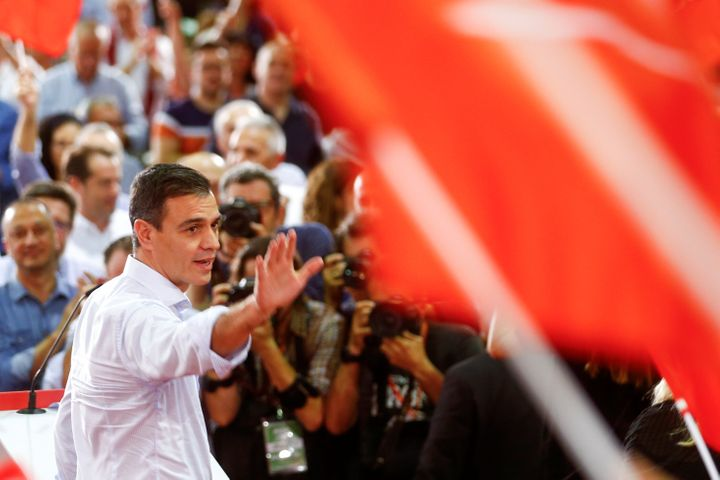 Spanish Prime Minister Pedro Sánchez at a rally on Oct. 31.