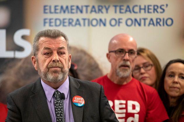 Elementary Teachers' Federation of Ontario president Sam Hammond addresses the media in Toronto on