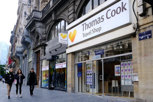 La devanture d'une agence Thomas Cook à Bruxelles le 23 septembre