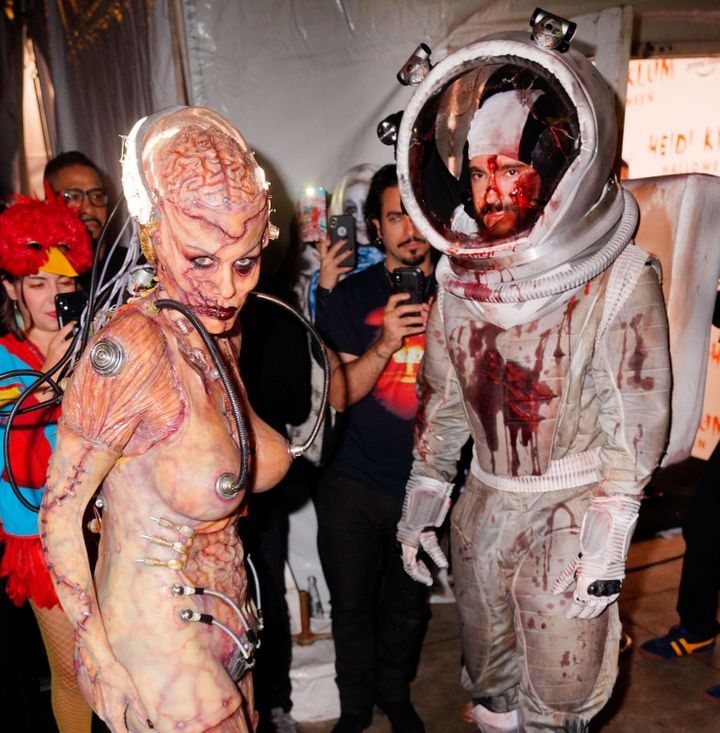 Heidi Klum and husband Tom Kaulitz made a blood-soaked debut at their annual Halloween party in New York City.