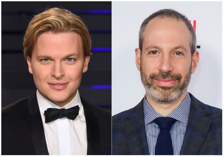 Ronan Farrow's new book contains damning allegations against NBC News President Noah Oppenheim, pictured on the right.