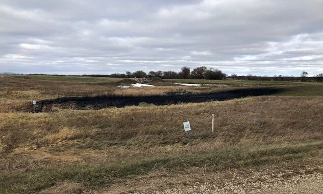 Oil spilled from a section of the Keystone pipeline is seen in Walsh County, North Dakota, Oct. 30, 2019.
