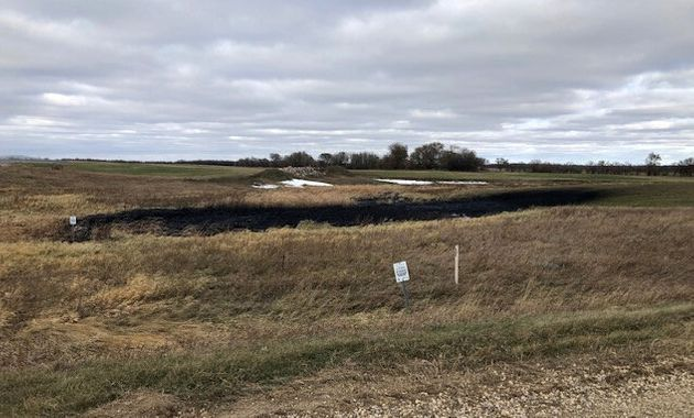 Oil spilled from a section of the Keystone pipeline is seen in Walsh County, North Dakota, Oct. 30,