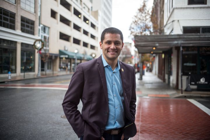 Virginia Del. Sam Rasoul (D), pictured in downtown Roanoke in 2016, is part of a new crop of populist Democrats challenging c