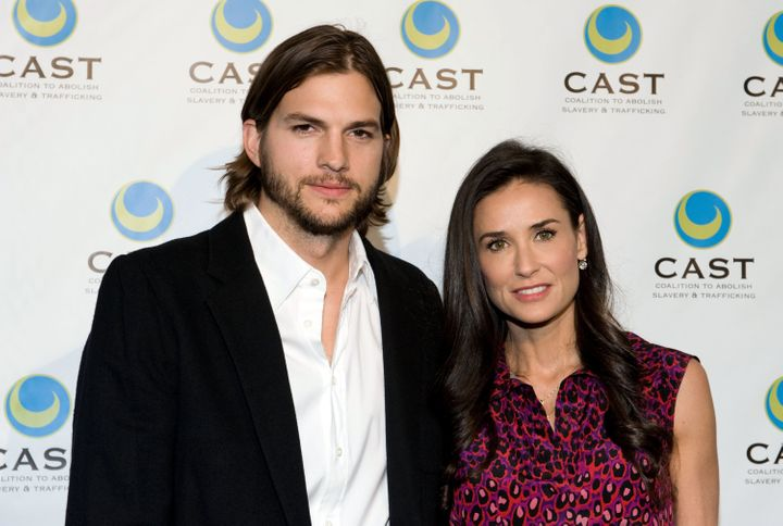 Kutcher and Moore arrive at the Coalition to Abolish Slavery & Trafficking's 13th Annual Gala on May 12, 2011 in Los Ange