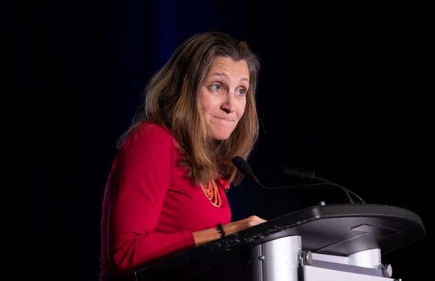Foreign Affairs Minister Chrystia Freeland speaks in Ottawa on Nov. 1,