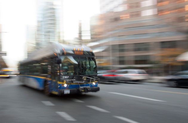 A bus is pictured in downtown Vancouver, Friday, November, 1,