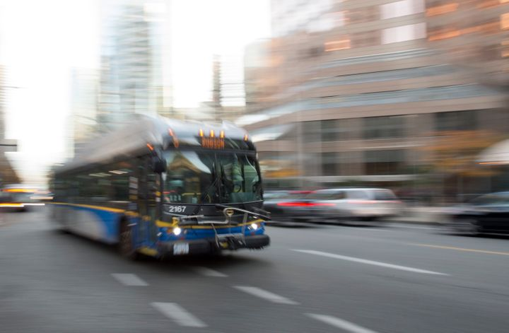 A bus is pictured in downtown Vancouver, Friday, November, 1, 2019.