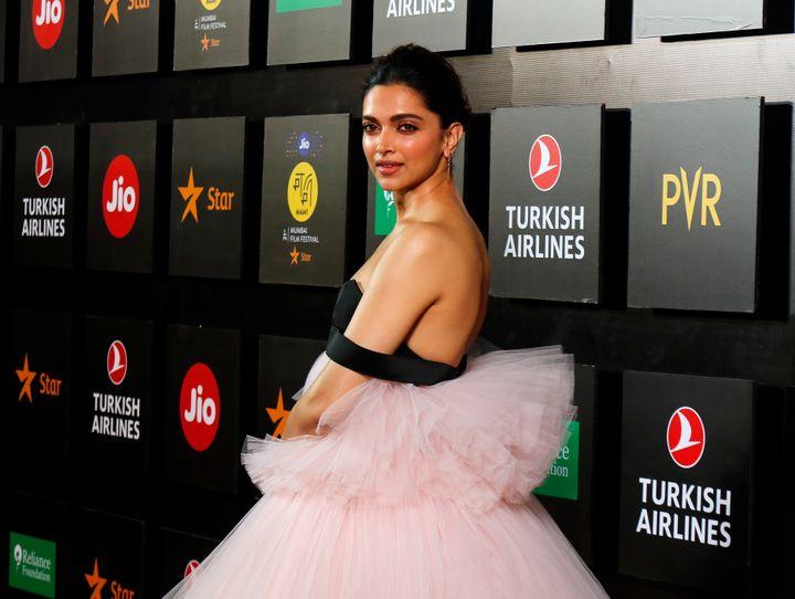 Bollywood actress Deepika Padukone poses during the opening ceremony of the 21st MAMI Mumbai film festival in Mumbai, India, Thursday, Oct. 17, 2019. (AP Photo/Rajanish Kakade)