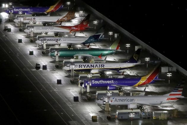 An aerial photo showing Boeing 737 Max airplanes parked at Boeing Field in Seattle, Wash. on Oct. 20,