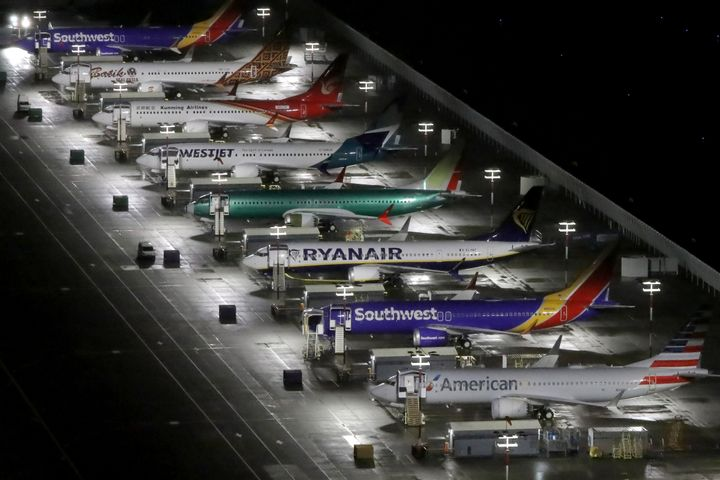 An aerial photo showing Boeing 737 Max airplanes parked at Boeing Field in Seattle, Wash. on Oct. 20, 2019.
