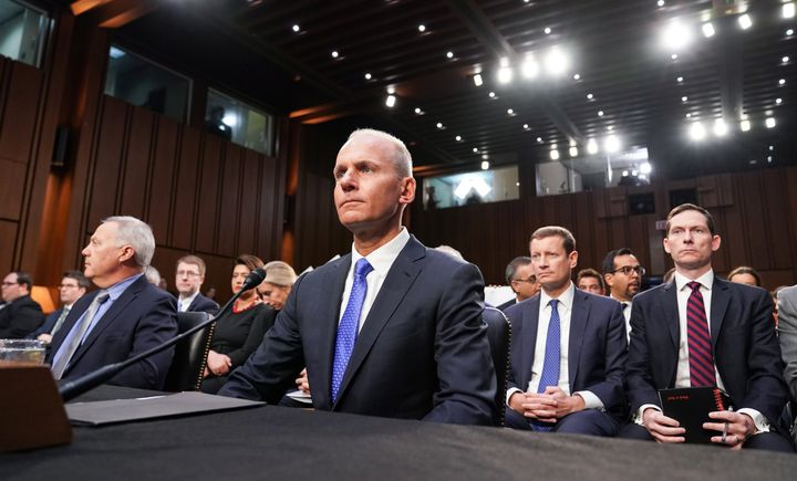 Boeing CEO Dennis Muilenburg testifies before a Senate Commerce, Science and Transportation Committee hearing on aviation safety and the grounded 737 MAX, on Capitol Hill in Washington, D.C. on Oct. 29, 2019.