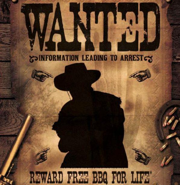 「逮捕につながる情報を求む。報酬はバーベキューが生涯無料」と書かれたポスター