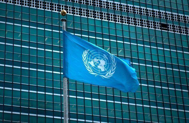 Le drapeau de l'Organisation des Nations unies (ONU).