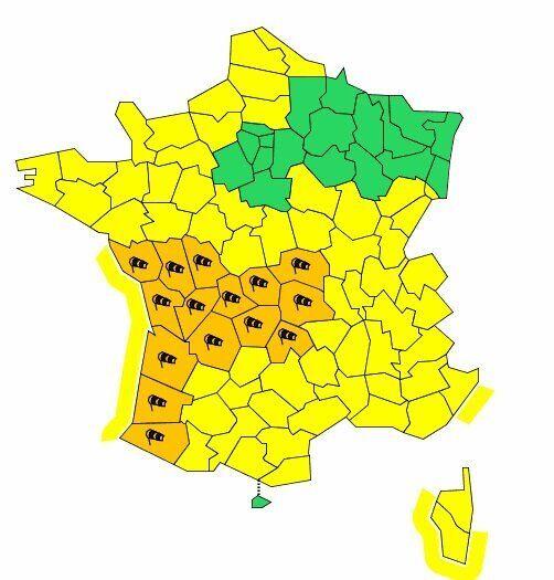 Tempête Amélie: 15 départements en vigilance orange aux vents