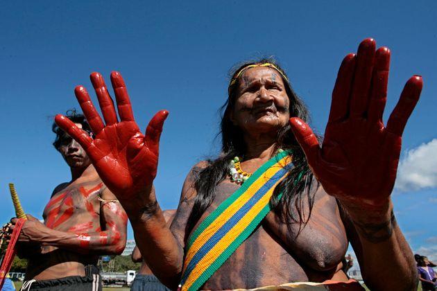 A líder indígenaTeresa Krinkaty, no acampamento Terra Livre, realizado anualmente em