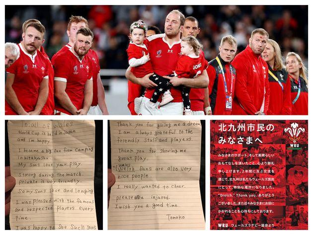 ラグビーワールドカップ3位決定戦で破れたウェールズ代表(上)、日本人のファンから寄せられた手紙(左下、中下)、ウェールズラグビー協会が掲載した全面広告のメッセージ