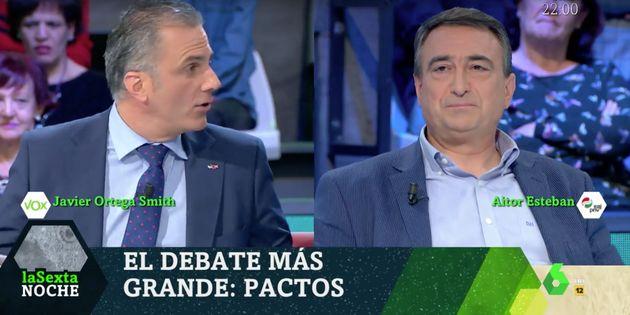 Javier Ortega Smith (Vox) y Aitor Esteban (PNV) en 'LaSexta