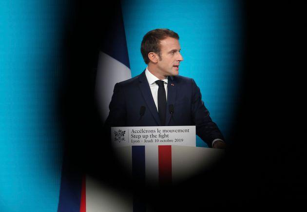 Emmanuel Macron lors d'un discours à Lyon le 10 octobre